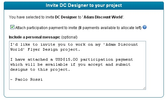 Can i invite designers to my project designcrowd hybrid design crowdsourcing paid invitation stopboris Images