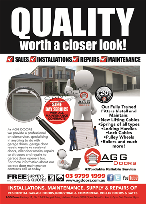 Flyer Design by the artworks for AGG DOORS PTY LTD | Design #5514328  sc 1 st  Flyer Design - DesignCrowd & 14 Elegant Flyer Designs | Garage Flyer Design Project for AGG DOORS ...