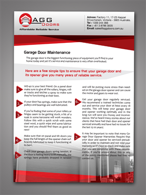 Elegant Playful Garage Flyer Design For Agg Doors Pty Ltd By