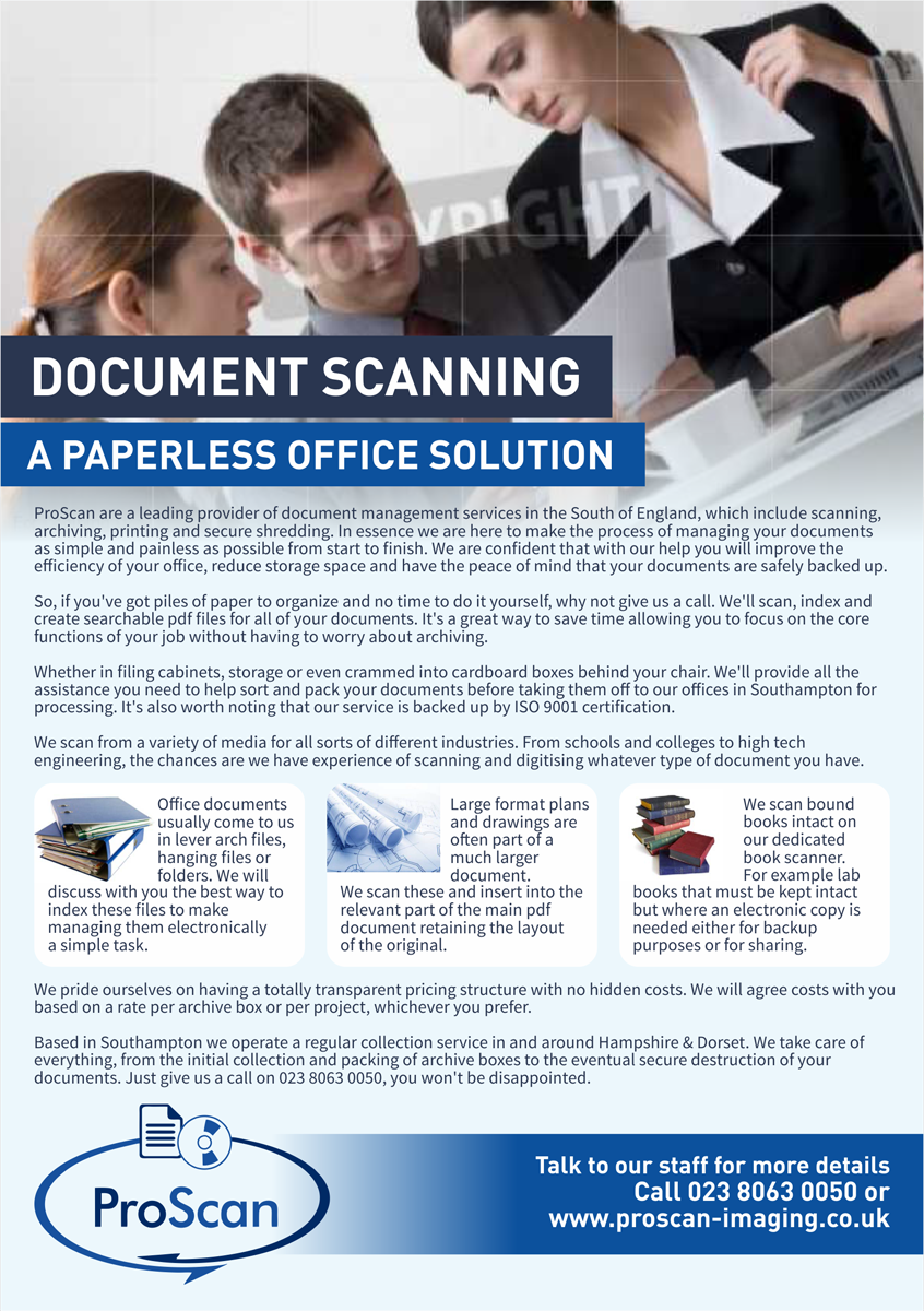 Modern serious it company flyer design for proscan document flyer design by barinix for proscan document imaging ltd design 5537622 solutioingenieria Choice Image