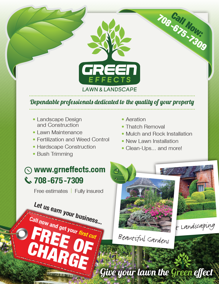 Elegant playful flyer design for kyle by charlottej for Landscaping companies