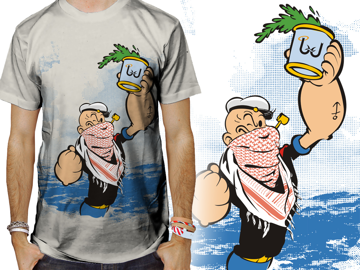 Design t shirt arabic - T Shirt Design By Voltage Gated For Popeyes The Sailor Man Veiled With Arabic Scarf