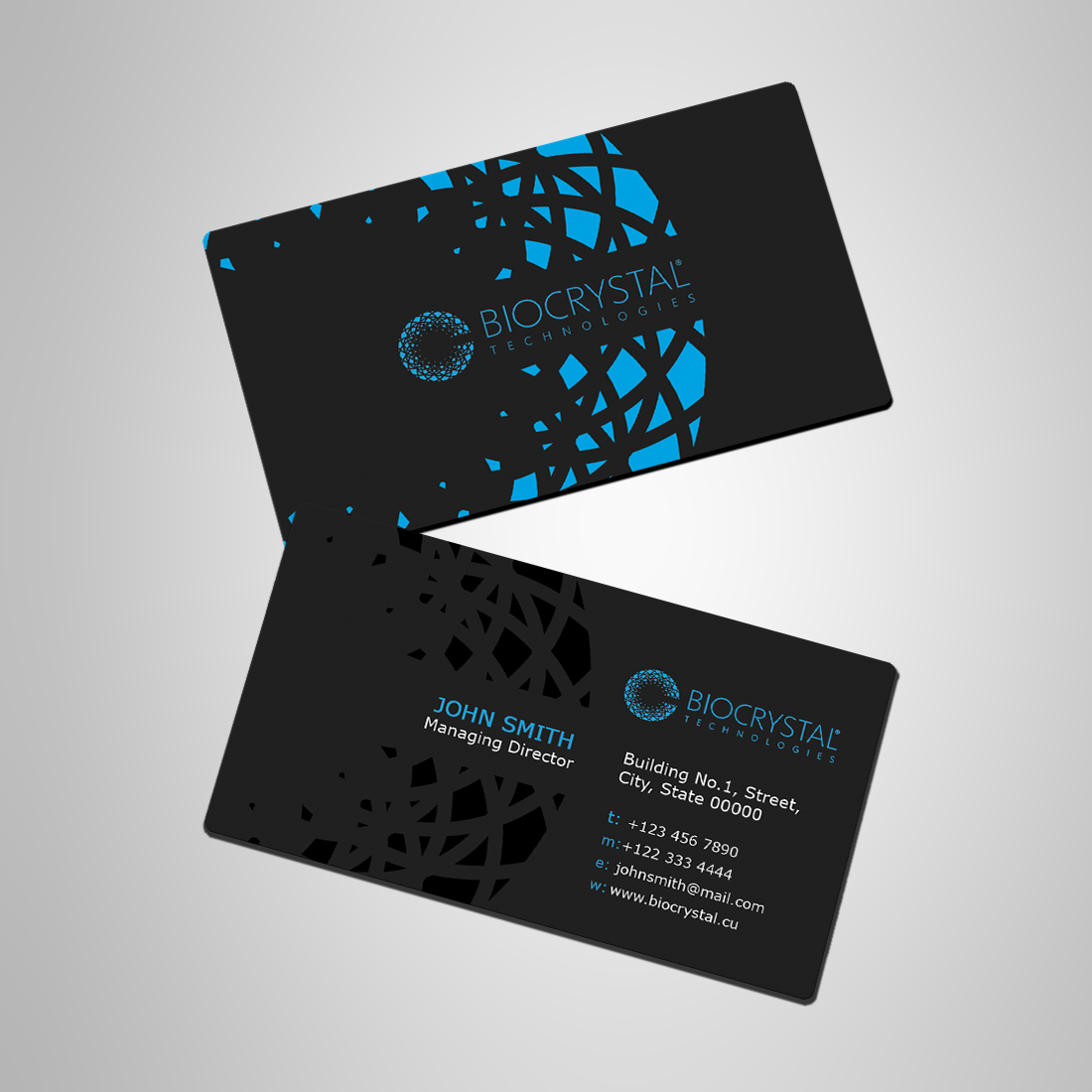 professional modern business card design for biocrystal