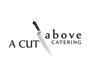 Logo Design by EdinAgbabic - Chef Knife Cutting Through the words (Cut Above)