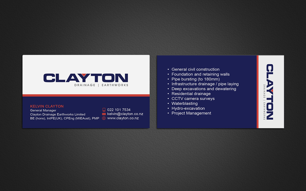 Professional bold business card design for clayton drainage business card design by gtools for construction company professional design layout using existing logo magicingreecefo Images