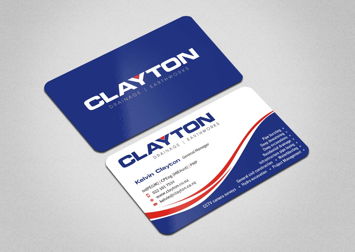 Professional bold business card design for clayton drainage business card design by indianashok for construction company professional design layout using existing logo magicingreecefo Images