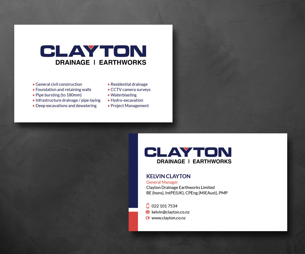 Professional bold business card design for clayton drainage business card design by smart designs for construction company professional design layout using existing magicingreecefo Images