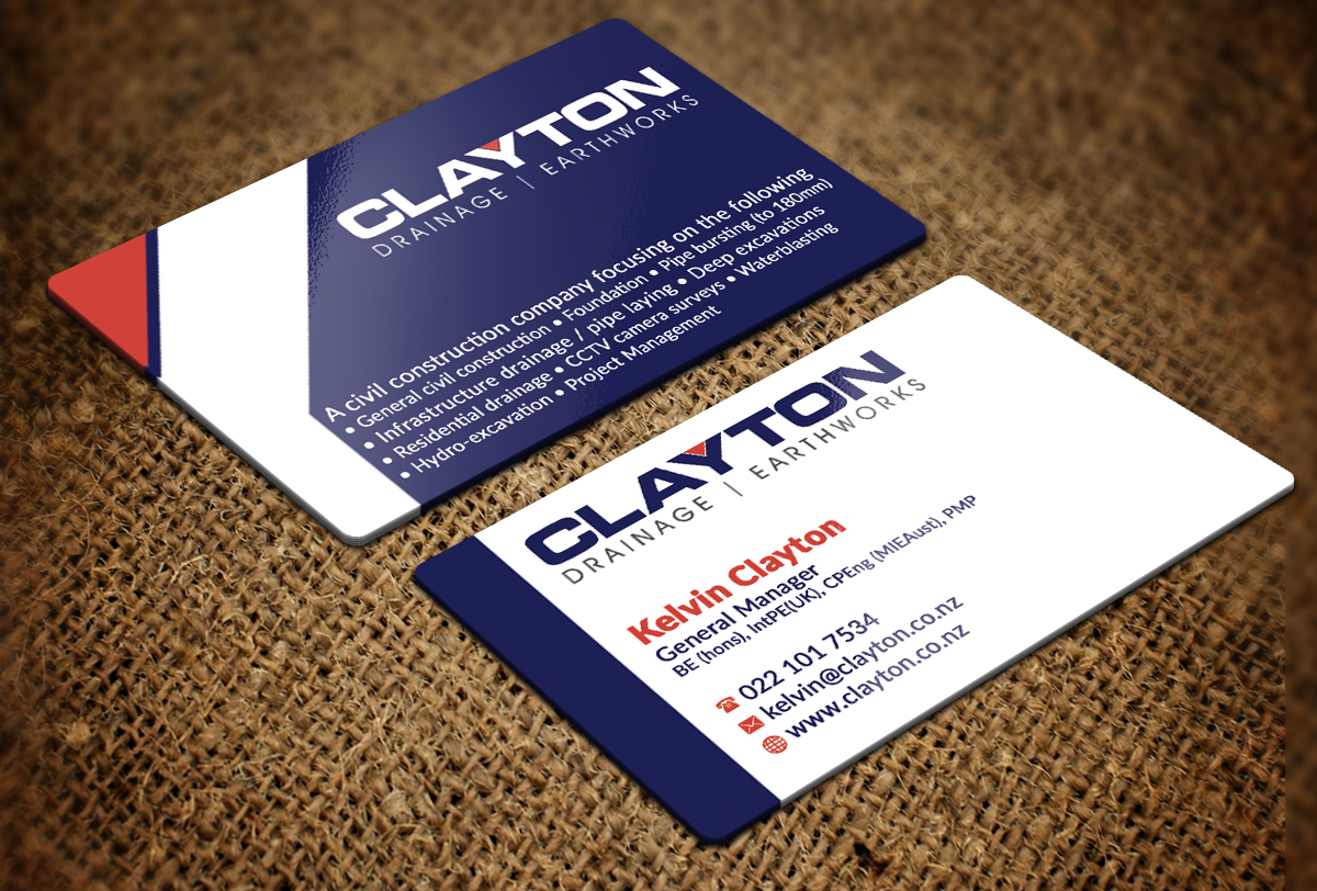 Professional bold business card design for clayton drainage business card design by nuhanenterprise for construction company professional design layout using existing logo magicingreecefo Images