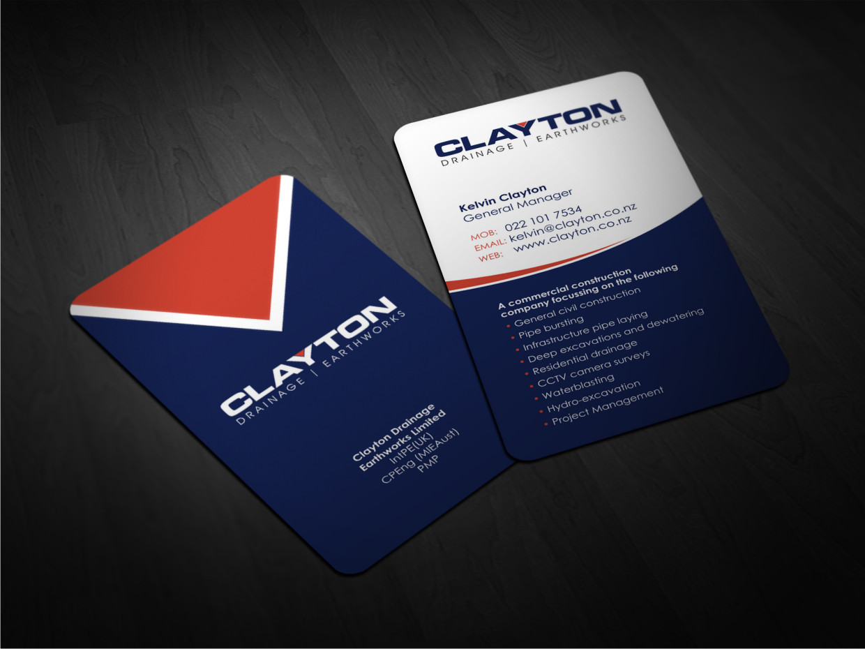 Professional bold business card design for clayton drainage business card design by atvento graphics for construction company professional design layout using existing magicingreecefo Images