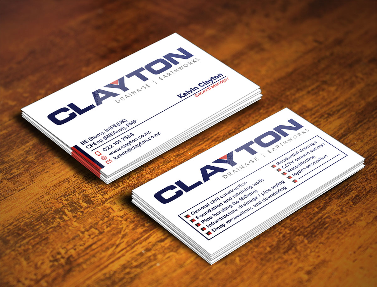 Professional bold business card design for clayton drainage business card design by creative design for construction company professional design layout using existing magicingreecefo Choice Image