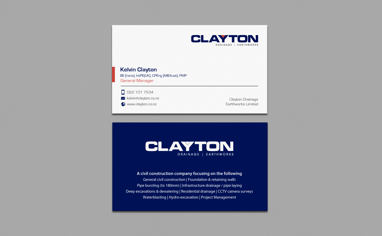 Professional bold business card design for clayton drainage business card design by chandrayaaneative for construction company professional design layout using magicingreecefo Images