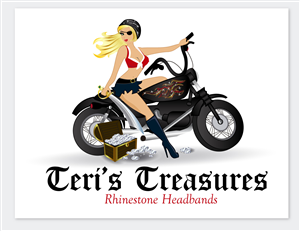 Logo Design by firesorcerer - Pirate girl riding a motorcycle