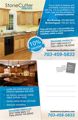 Postcard Design by Theziners - My Stonecutter Interiors llc fliers project