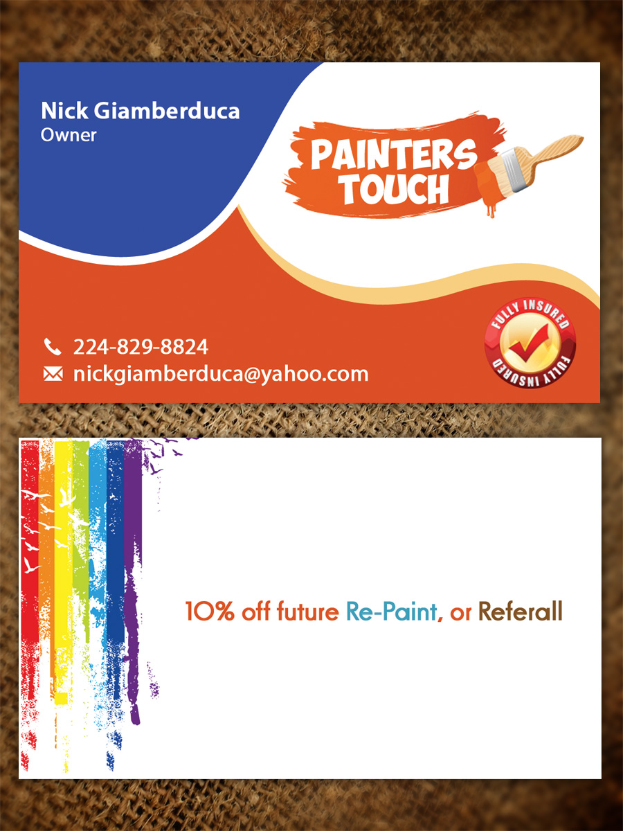 Professional, Bold, Business Business Card Design for Painters Touch ...