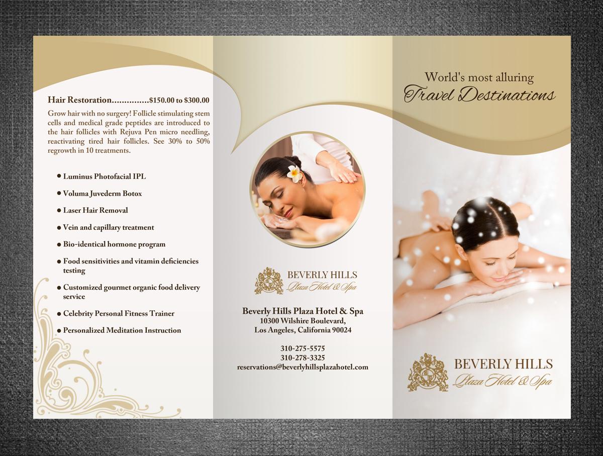 Upmarket elegant brochure design for le plaza spa by hih7 for Spa brochure design