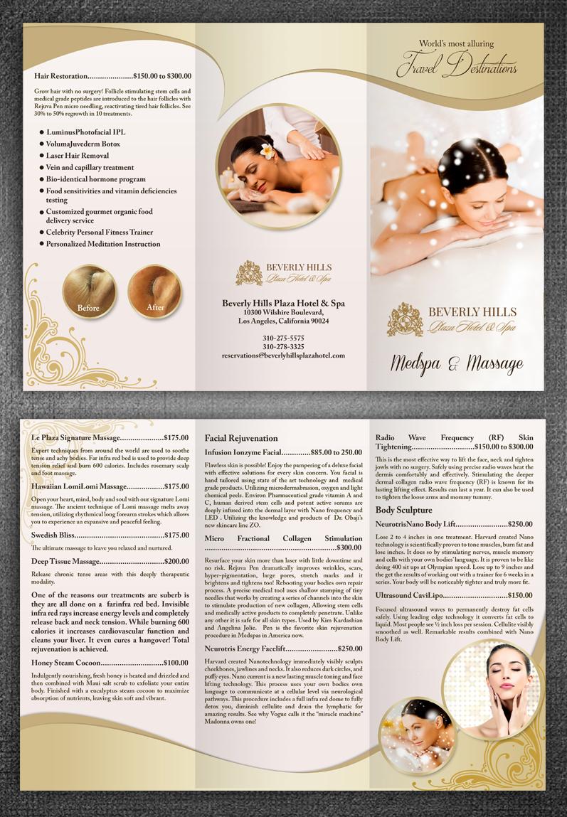 spa brochure design - upmarket elegant massage brochure design for le plaza