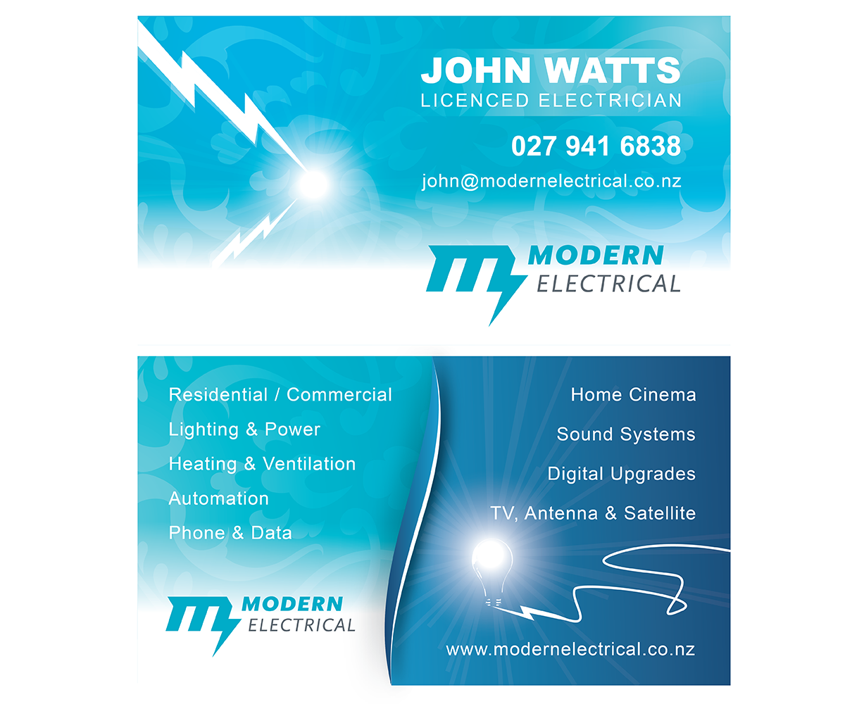 business card design by floyd b for modern industries limited design 1548698 - Electrician Business Cards
