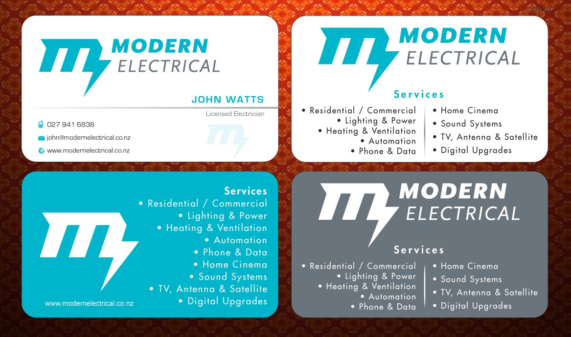 Modern bold electrician business card design for modern industries business card design by sbss for modern industries limited design 1536523 reheart Choice Image
