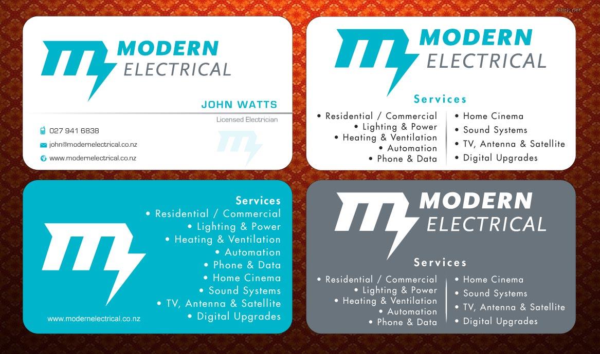 Modern Bold Electrician Business Card Design For Modern Industries