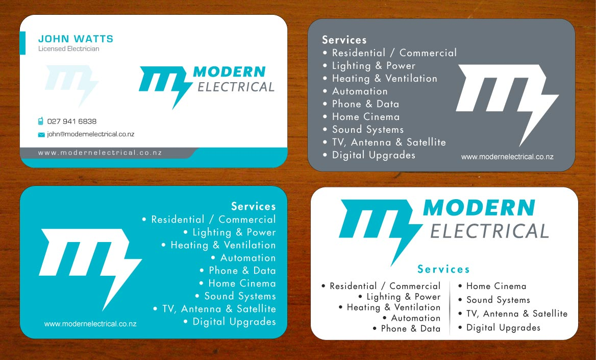 Modern, Bold, Electrician Business Card Design for Modern Industries ...