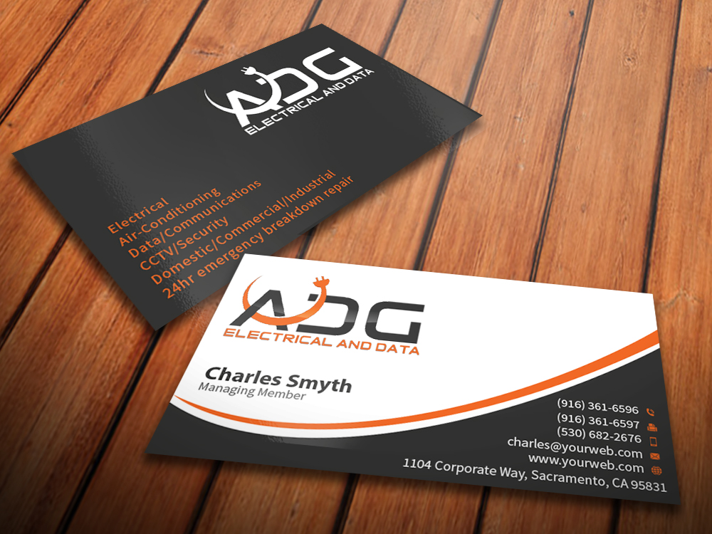 Serious modern electrical business card design for a company by business card design by mediaproductionart for this project design 5603139 colourmoves