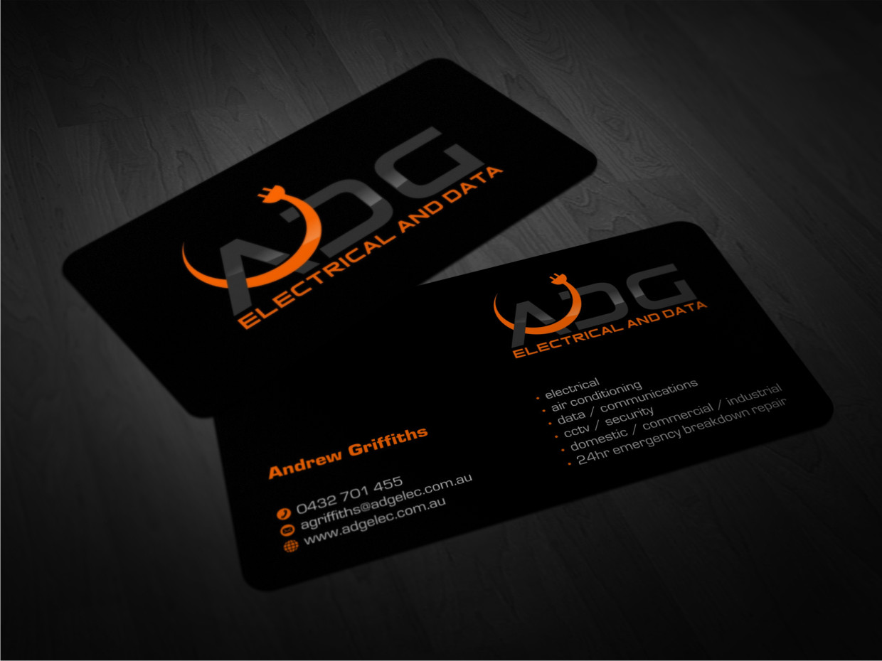 Serious modern business card design for andy griffiths by atvento business card design by atvento graphics for electrical contractor business card for professional modern company magicingreecefo Images