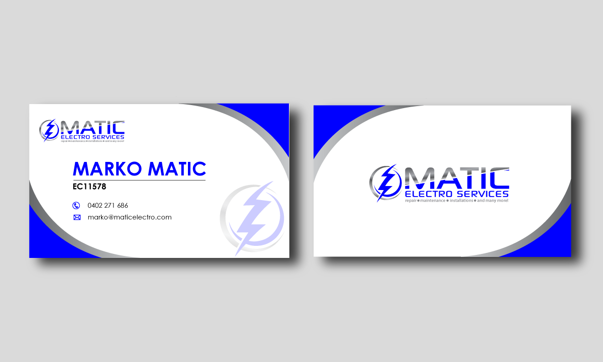 Serious modern business card design for matic electro services by business card design by vinh n for matic electro services needs a vibrant design for magicingreecefo Images