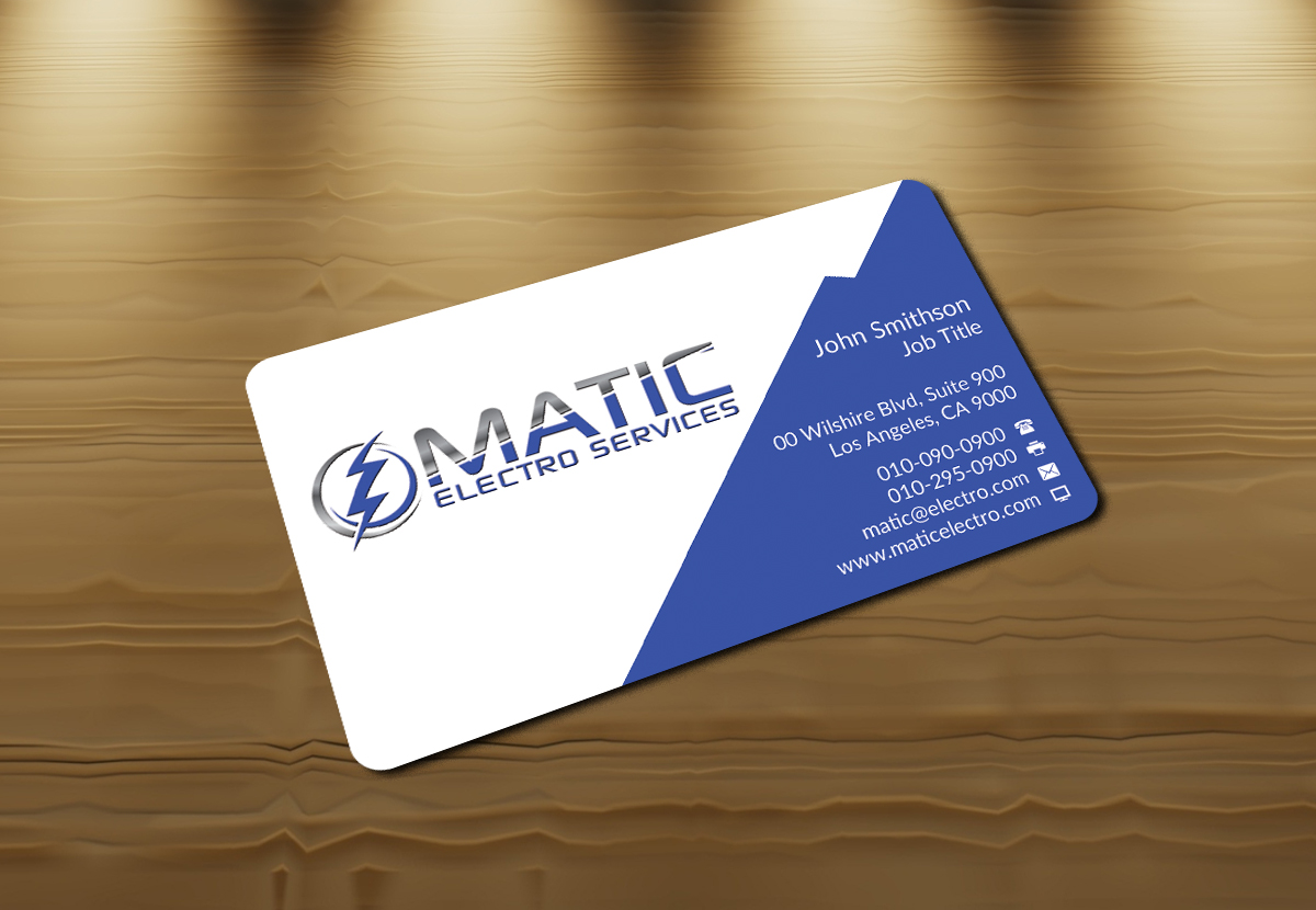 Serious modern business card design for matic electro services by business card design by nuhanenterprise for matic electro services needs a vibrant design for electrical contracting magicingreecefo Images