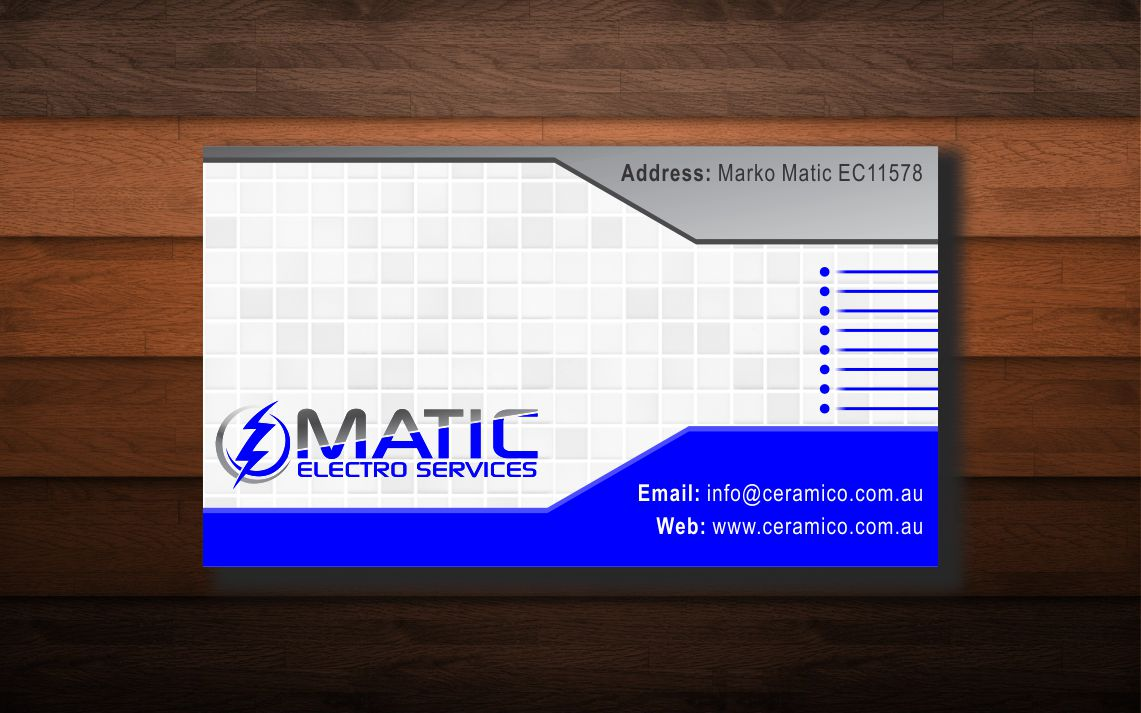 Business Card Design By Dipenshah For MATIC ELECTRO SERVICES Needs A Vibrant