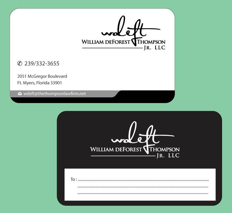 Upmarket elegant lawyer name card design for william deforest name card design by infinitive technology for william deforest thompson jr design reheart Gallery