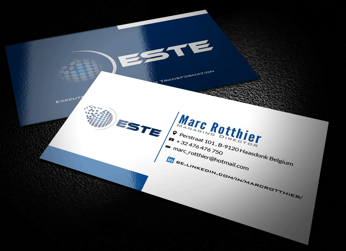 Modern professional business card design for marc rotthier by riz business card design by riz for executive business consulting for telco companies and telco start reheart Gallery