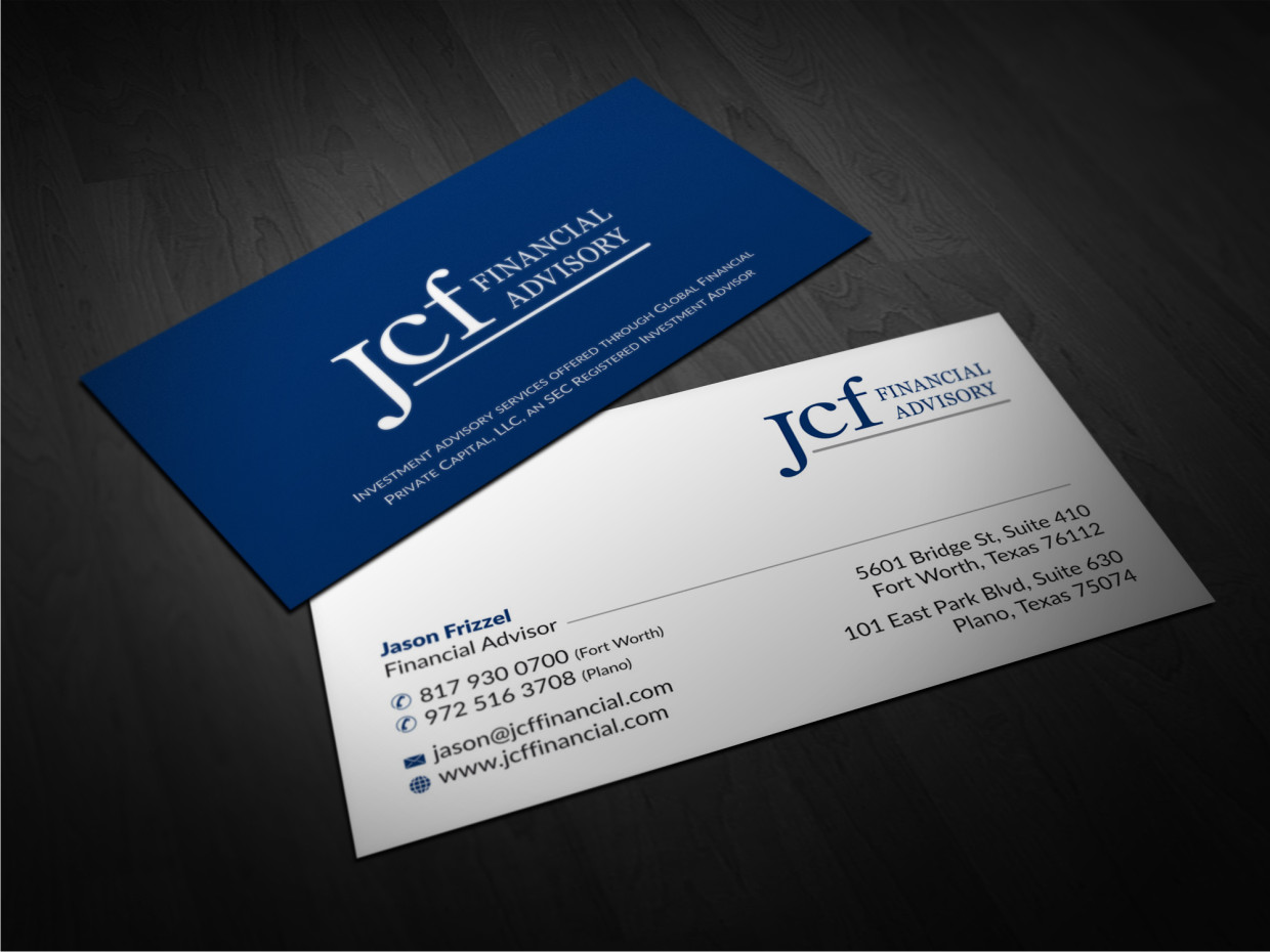 Elegant playful business card design for megan frizzell by business card design by atvento graphics for financial advisor needs a new business card design magicingreecefo Images