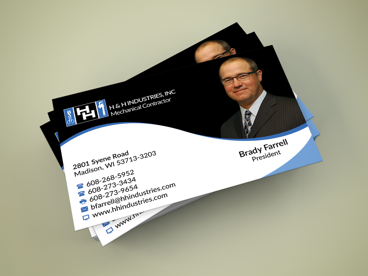 Bold serious business card design for rob borden by business card design by nuhanenterprise for h h industries hvac mechanical contractor business card magicingreecefo Image collections
