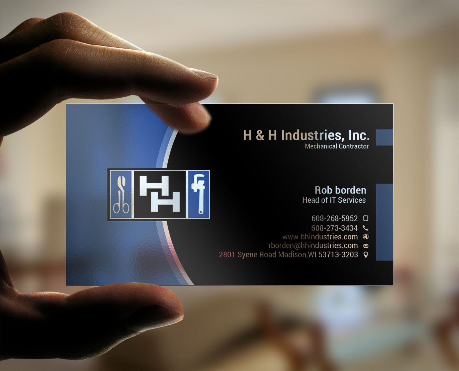 Bold serious business card design for rob borden by lanka ama business card design by lanka ama for h h industries hvac mechanical contractor business card magicingreecefo Image collections