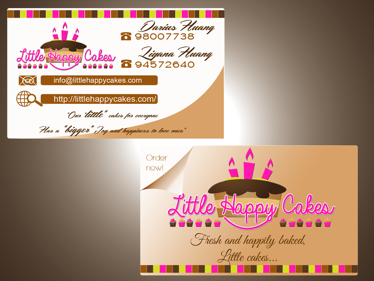 Fun happy business card new logo for home cake shop for Business card cake design