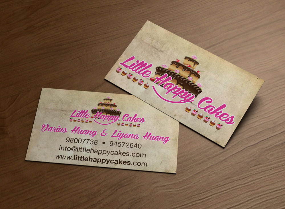 Modern personable business card design for little happy for Business card cake design