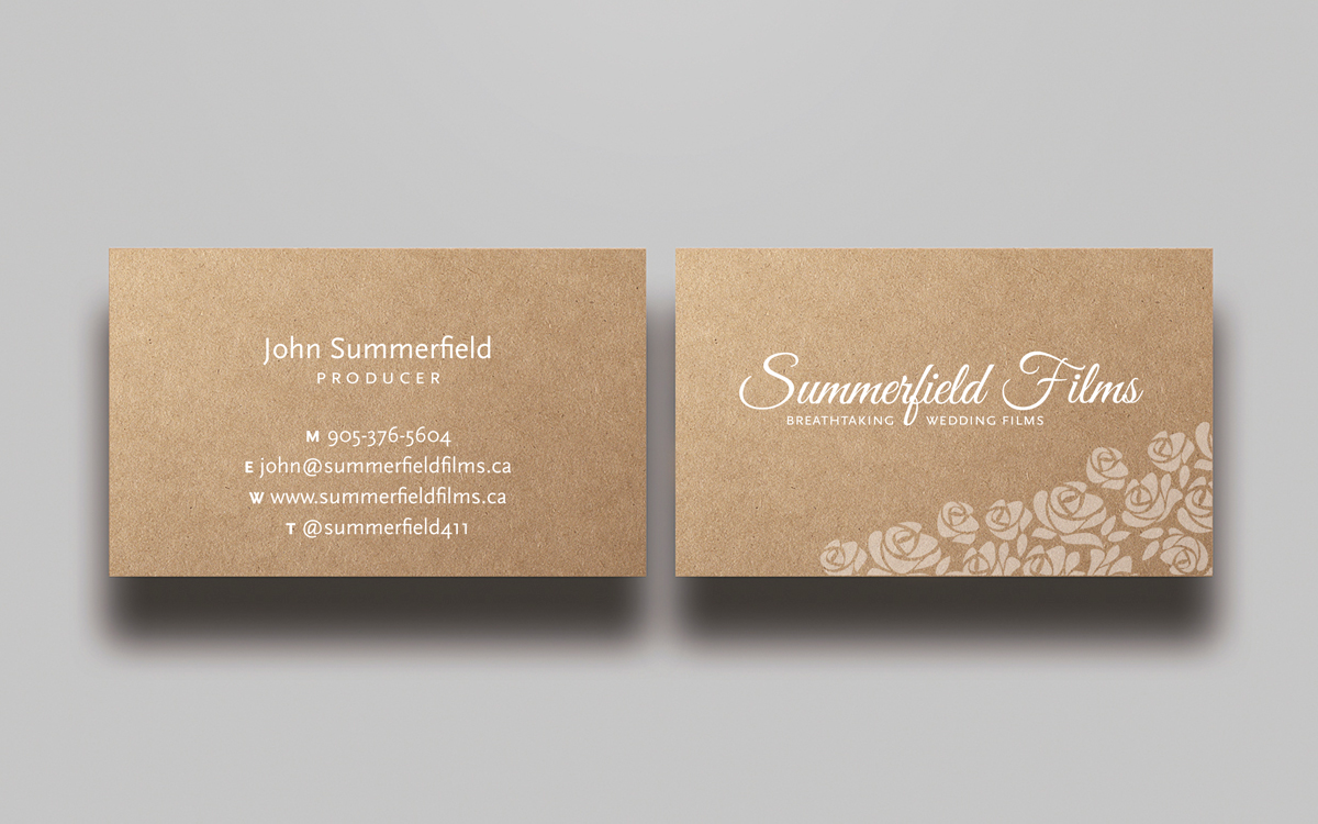 Upmarket feminine business card design for summerfield films by business card design by mtbosh for wedding filmmaker needs artistic business card design summerfieldfilms magicingreecefo Gallery