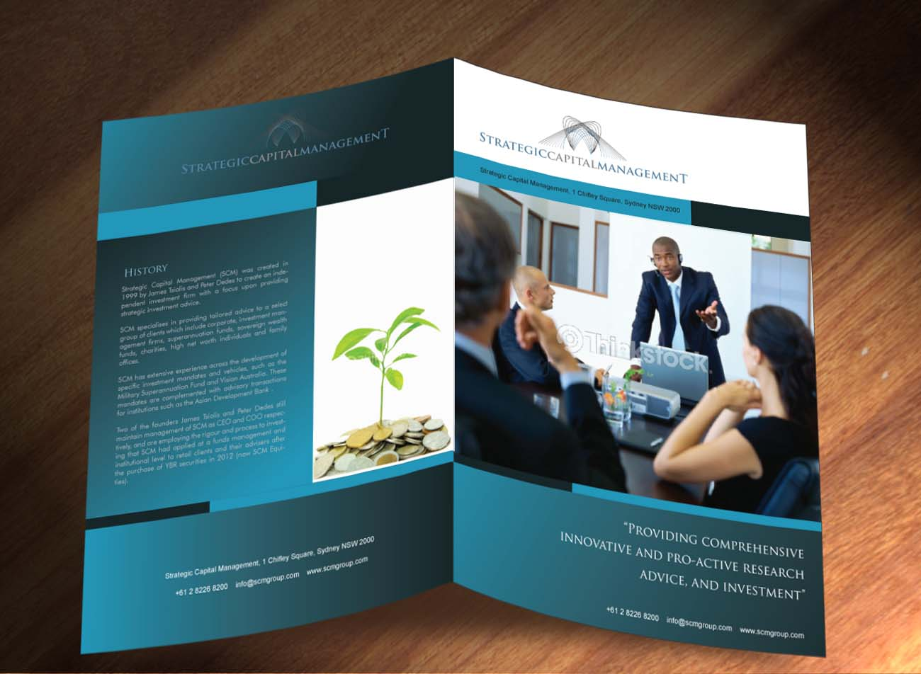 upmarket serious financial brochure design for a company by sbss