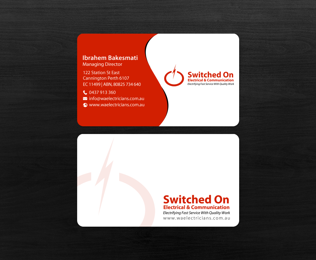 Serious modern electrical business card design for a company by business card design by chandrayaaneative for this project design 12357938 reheart Choice Image