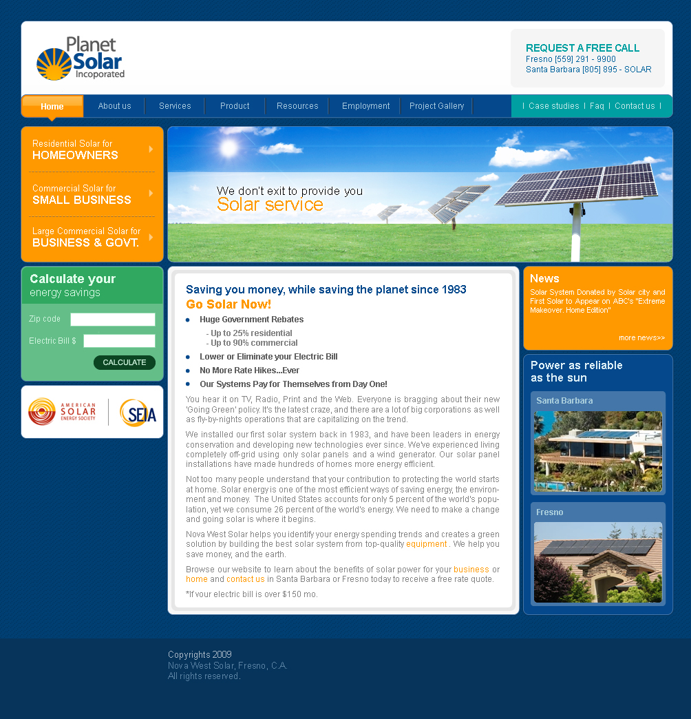 Web Design for Planet Solar inc by lendel sebastian | Design #8605