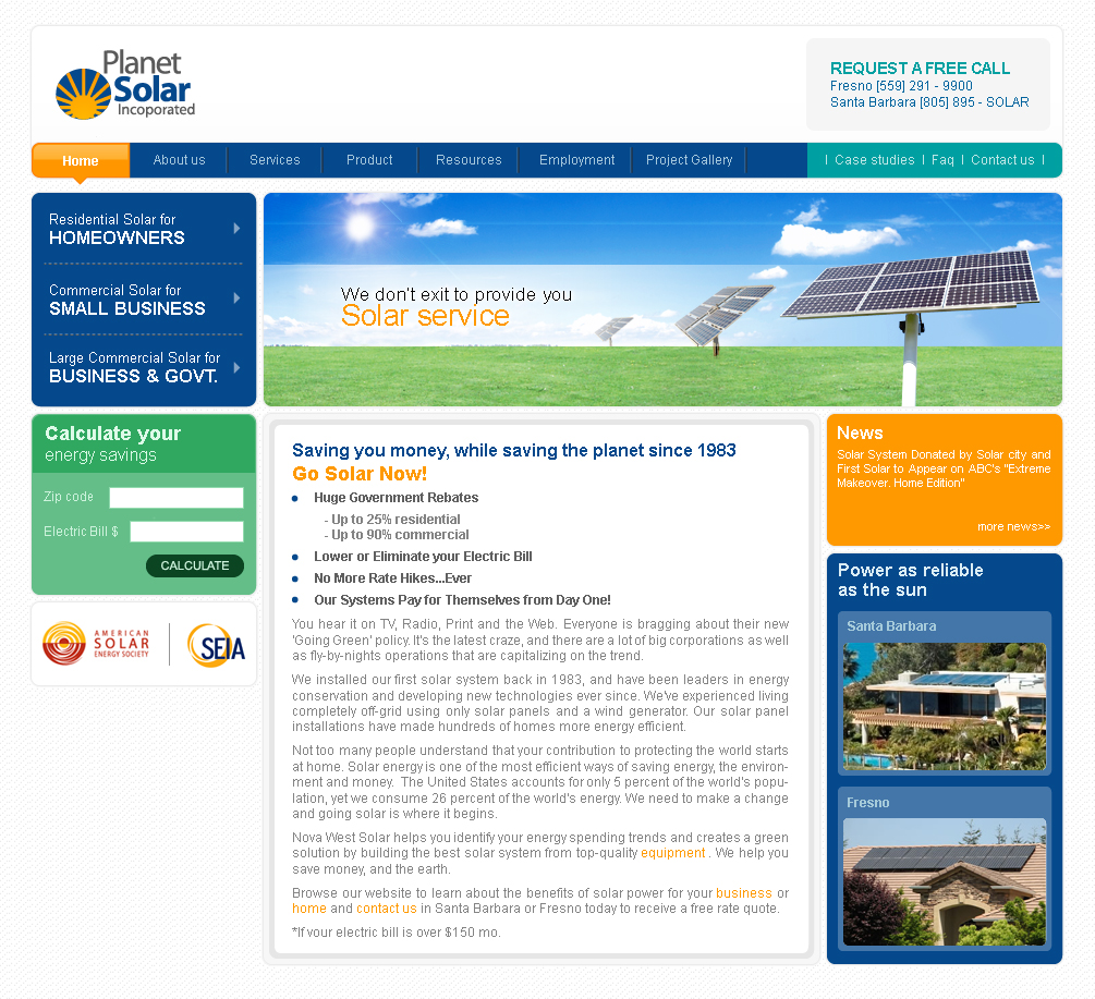 Web Design for Planet Solar inc by lendel sebastian | Design #8615