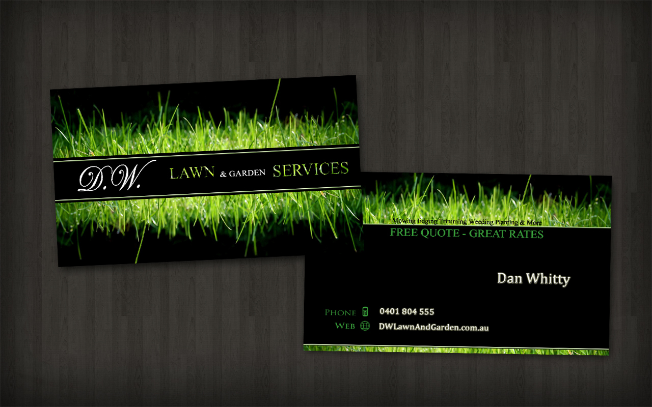 Modern bold business card design for dw lawn garden for Gardening business cards