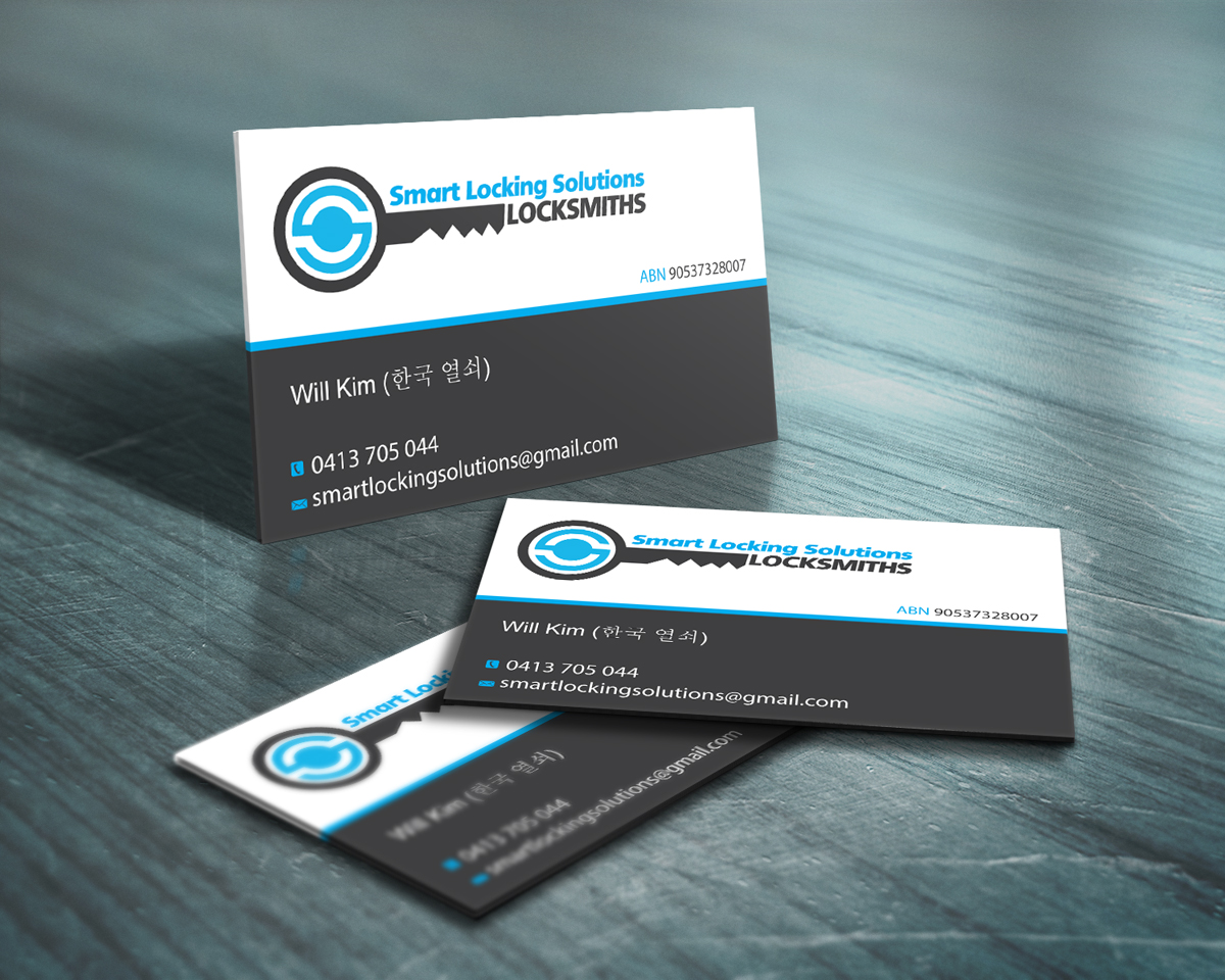 Modern conservative business card design design for will for Locksmith business cards