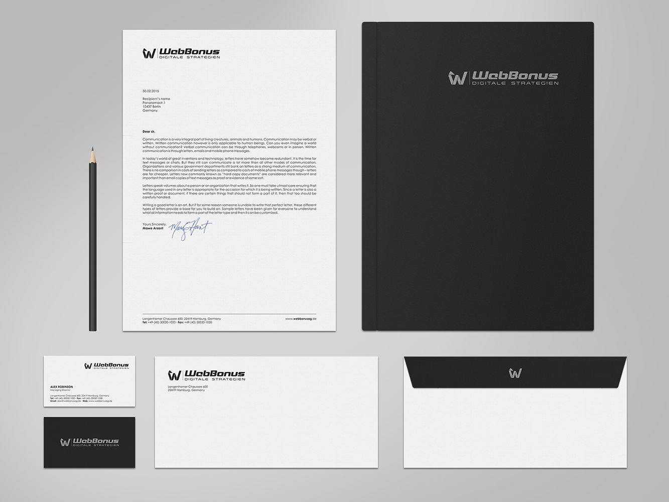 Elegant, Playful, Software Business Card Design for WebBonus AG by ...