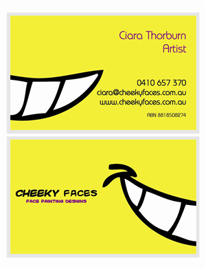 Business Card Design job – Cheeky Faces - Face Painting Company requires business card design – Winning design by HyperTime Studio