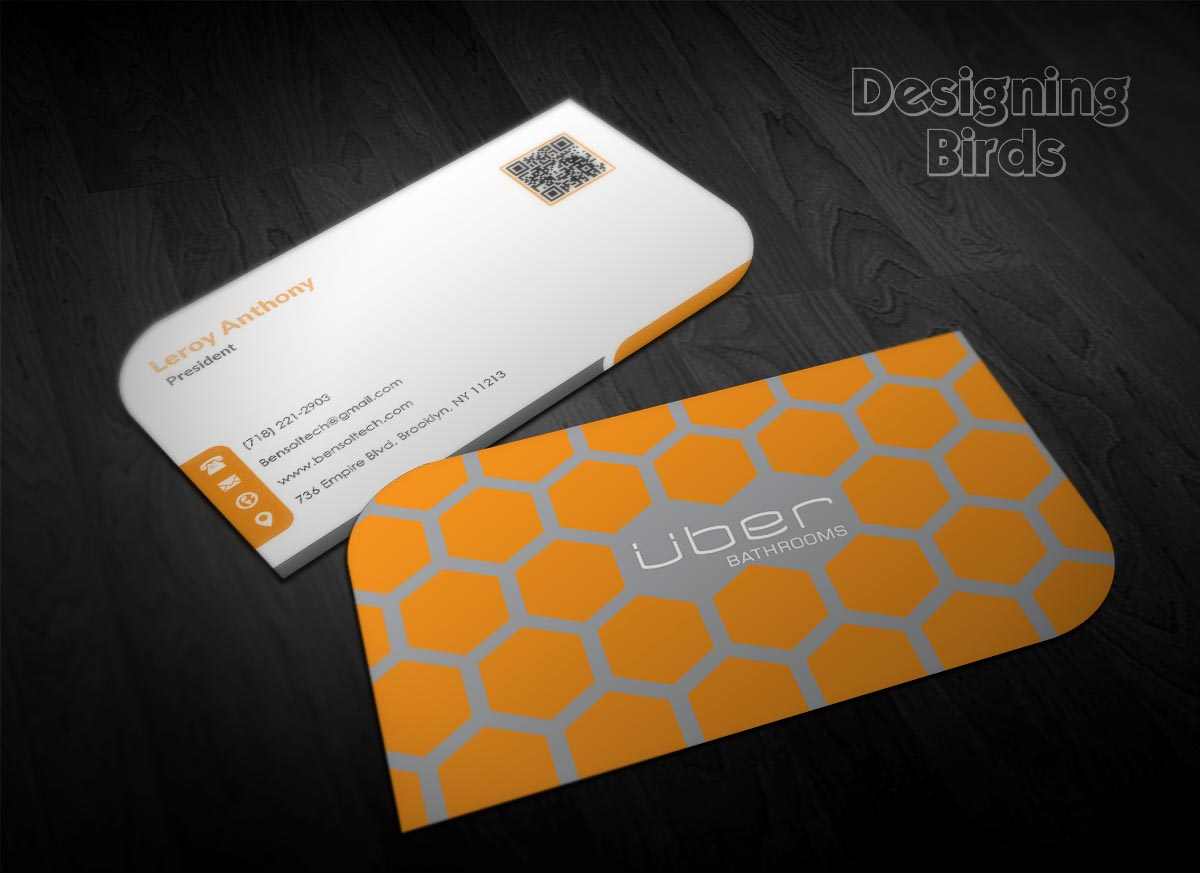 business card design for uber bathrooms by designing birds