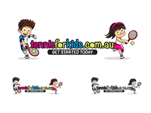 """""""tennisforkids.com.au"""" with the tagline """"get started today"""". 