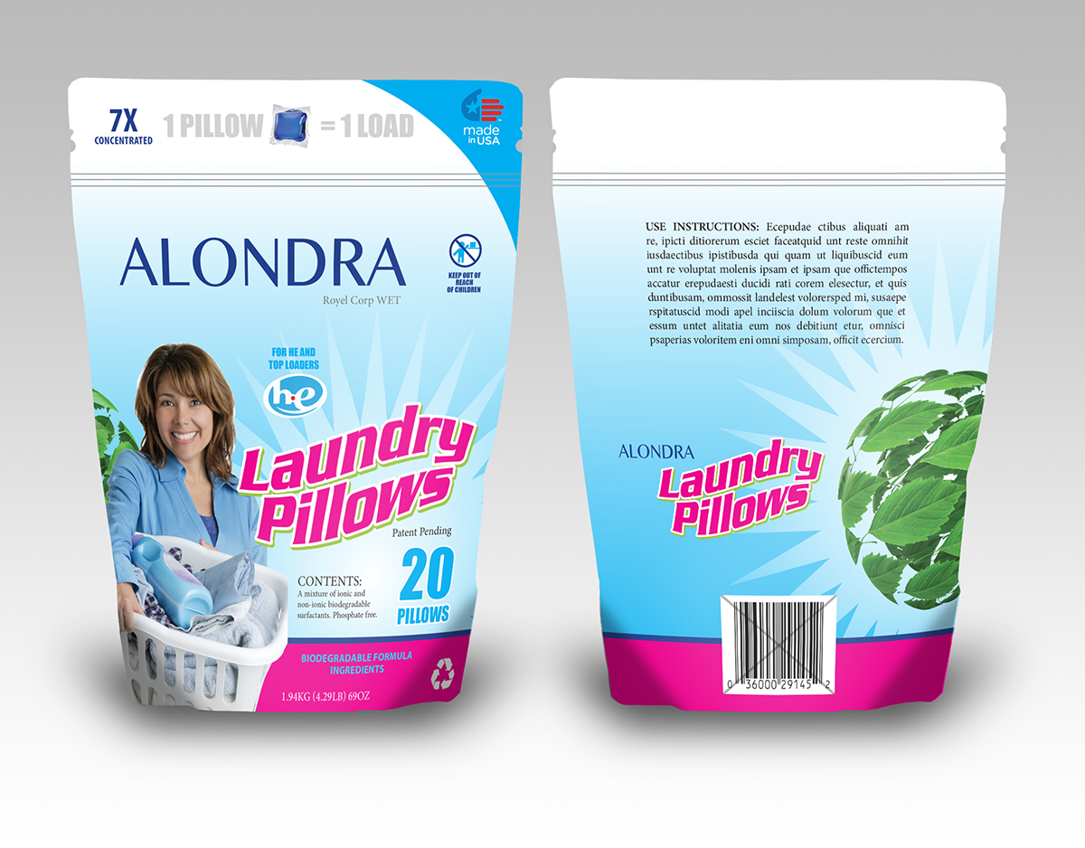 Packaging Design by Caribellabou for Single Dose Laundry Detergent in Water Soluble Pillows - Design #5847756
