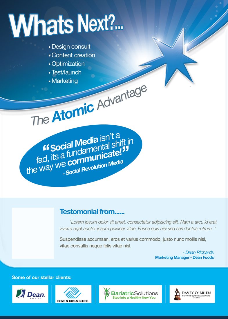 Bold modern marketing brochure design for atomic design for Marketing brochure design