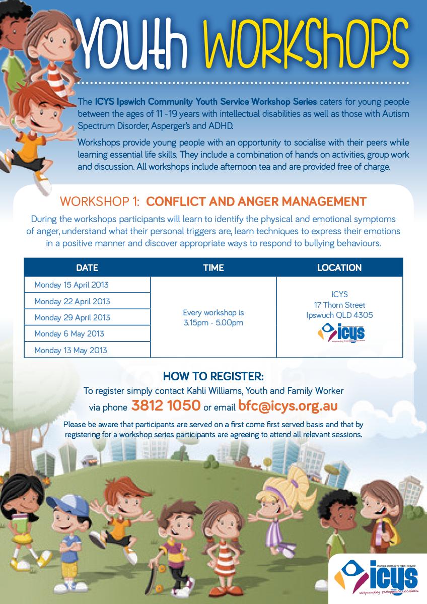 Elegant Playful Flyer Design for ICYS Ipswich Community Youth – Workshop Flyer Template